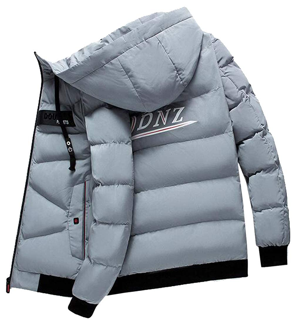 Jotebriyo Mens Winter Hoodie Warm Solid Color Down Quilted Jacket Coat Outwear