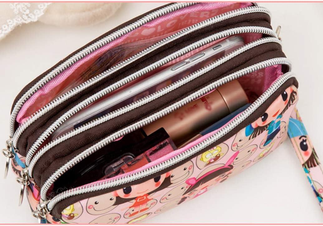 LAAT Mode Imperm/éable Porte-Monnaie pour Femmes Triple Fermeture /à glissi/ère en Cuir Mini Sac de Carte Portefeuille avec Porte-cl/és