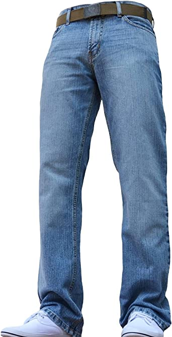 Mens Denim Jeans Zip Fly Cotton Trousers Pants With Free Belt Big /& Tall Sizes