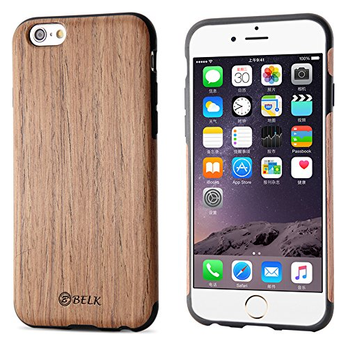 iPhone 6S Plus Case, iPhone 6 Plus Case, B BELK [Air To Beat] [Slim Matte] Non Slip Wood Tactile Extra Grip Rubber Bumper [Extremely Light] Soft Wood Back Cover, Fingerprint Free Flex TPU Case, Cherry (Wood Phone 6 Iphone Covers)