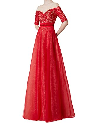Z Womens Off Shoulder Embroidery Lace Bowknot Sash Homecoming Dresses Beaded Rhinestone Maxi Evening