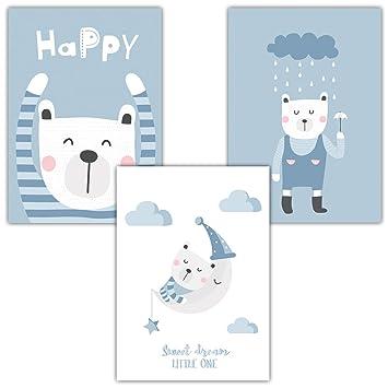 Frechdax® 3er Set Kinderzimmer Poster Baby Kinderposter Deko Junge &  Mädchen (3er Set Mint, Blau, Teddy)