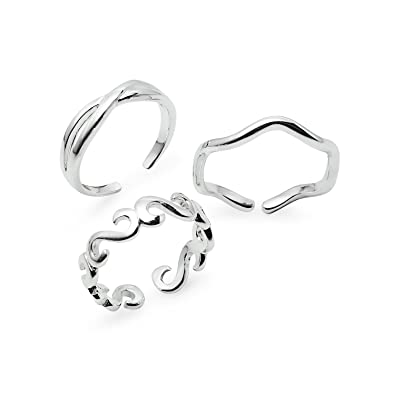 38203a0a6 Sterling Silver Assorted Adjustable Toe Rings Jewelry Set of 3 Rings: Amazon .co.uk: Jewellery