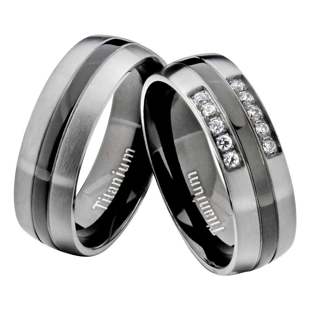FlameReflection Titanium Black Gray Round CZ His & Hers Wedding Band Engagement Ring Sets