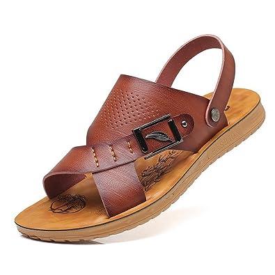 3bc46d7ca242c XIGUAFR Homme Chaussure Sandale de Cuir Souple Pantoufle de Plage Piscine  Légère Tong Chaussure de Loisir