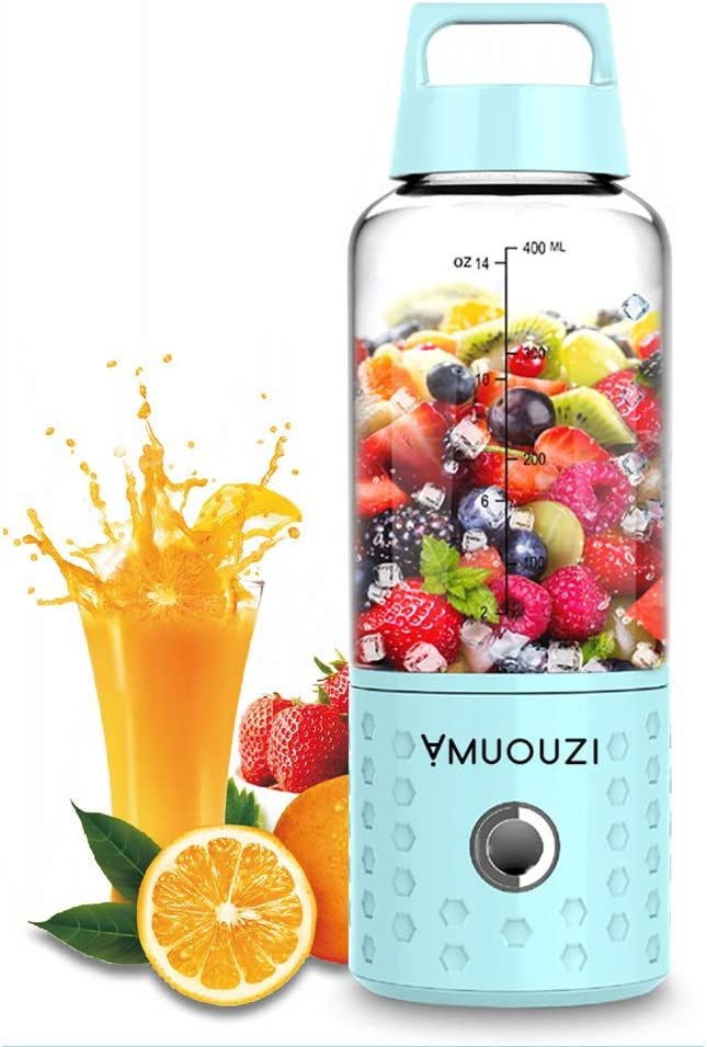 AMUOUZI Portable Blender,Smoothie Blender USB Juicer Cup, 16oz Fruit Mixing Machine with 4000mAh Rechargeable Batteries, Small Blender, Perfect Blender for Personal Use