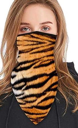 Tiger Print Face Scarf Shield Bandana Ear Loops Neck Gaiters Balaclava