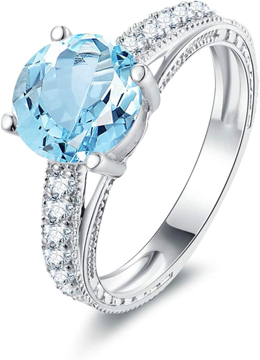 AMDXD Jewelry 925 Sterling Silver Engagement Rings Women Blue Round Cut Topaz Ring