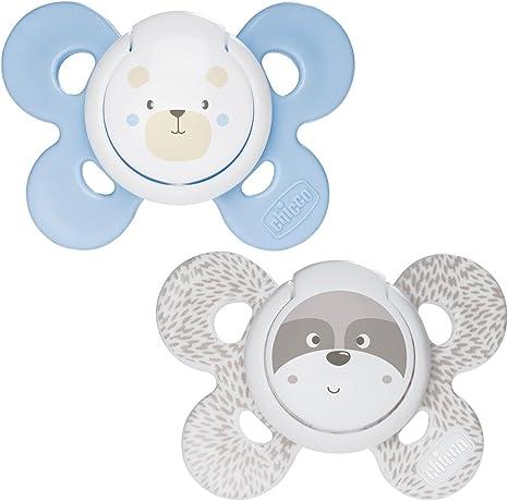 Chicco Physio Comfort - Pack de 2 chupetes de silicona 0-6 m, color azul (diseños surtidos): Amazon.es: Bebé