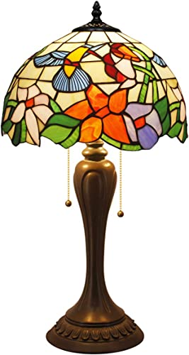 Tiffany Table Lamp W12H22 Inch Hummingbird Stained Glass Reading Lighting S101 WERFACTORY Lamps Lover Parent Kids Girlfriend Living Room Bedroom Study Office Coffee Bar Desk Antique Art Crafts Gift