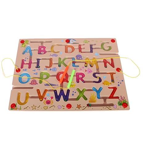 Amazoncom Monkeyjack Magnetic Maze Alphabet Maze Wooden Toy Puzzle