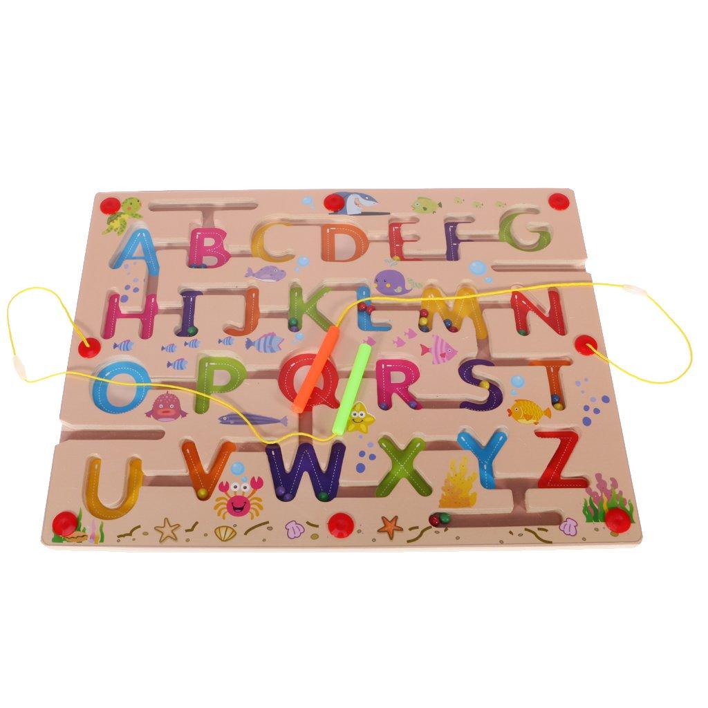 MonkeyJack Magnetic Maze Alphabet Maze Wooden Toy Puzzle Pen Labyrinth Kids Children Gift Party Toys