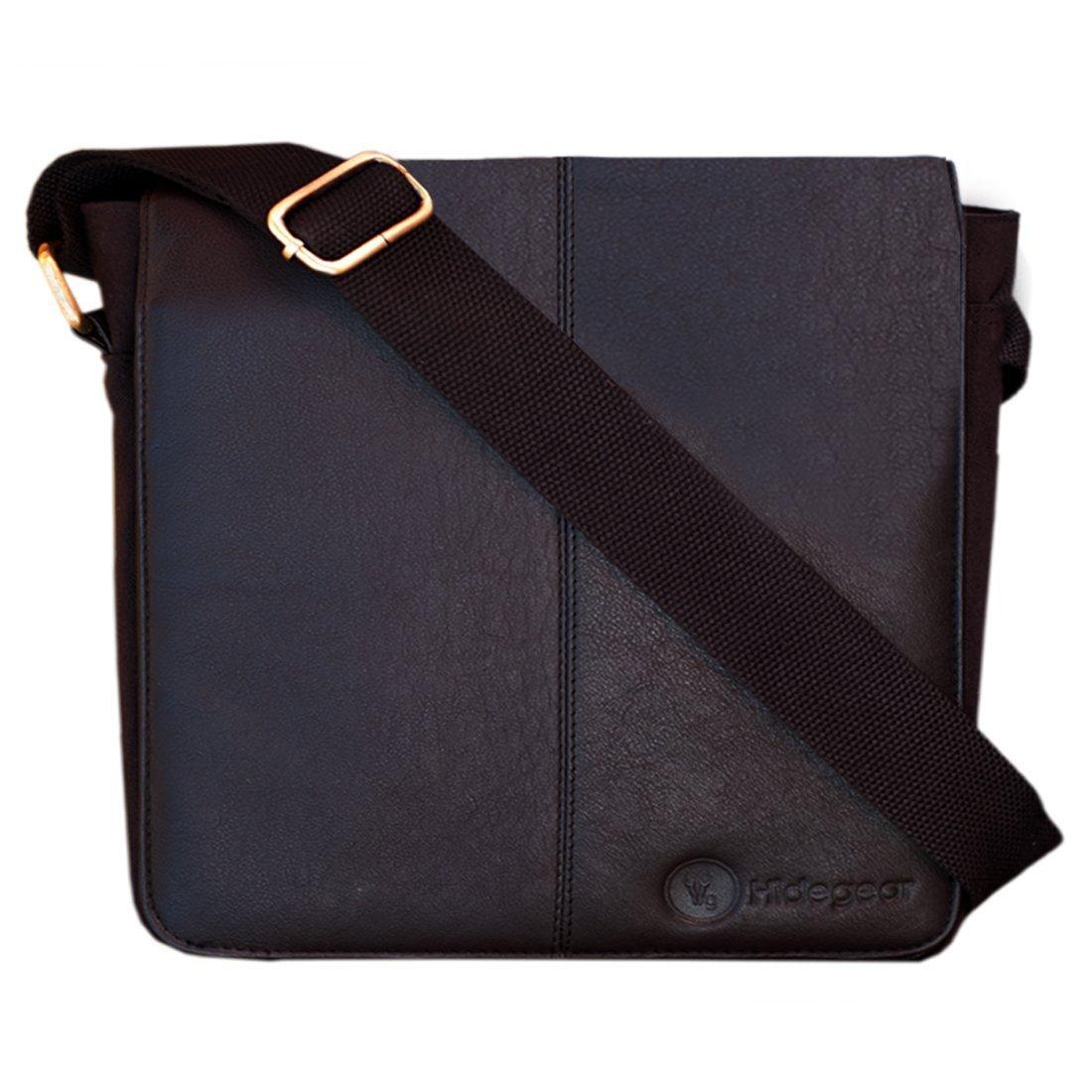 b466a96a1a Hidegear Men s Leather-Canvas Messenger Bag(Brown)  Amazon.in  Bags ...