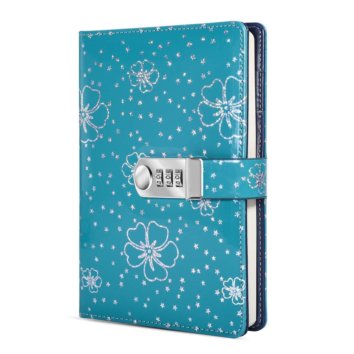ARRLSDB PU Leather Journal with Lock, A5 Size Diary with Combination Lock (Journal with Combination Lock) Password Notebook Locking Student Diary Notepad (Green) by ARRLSDB