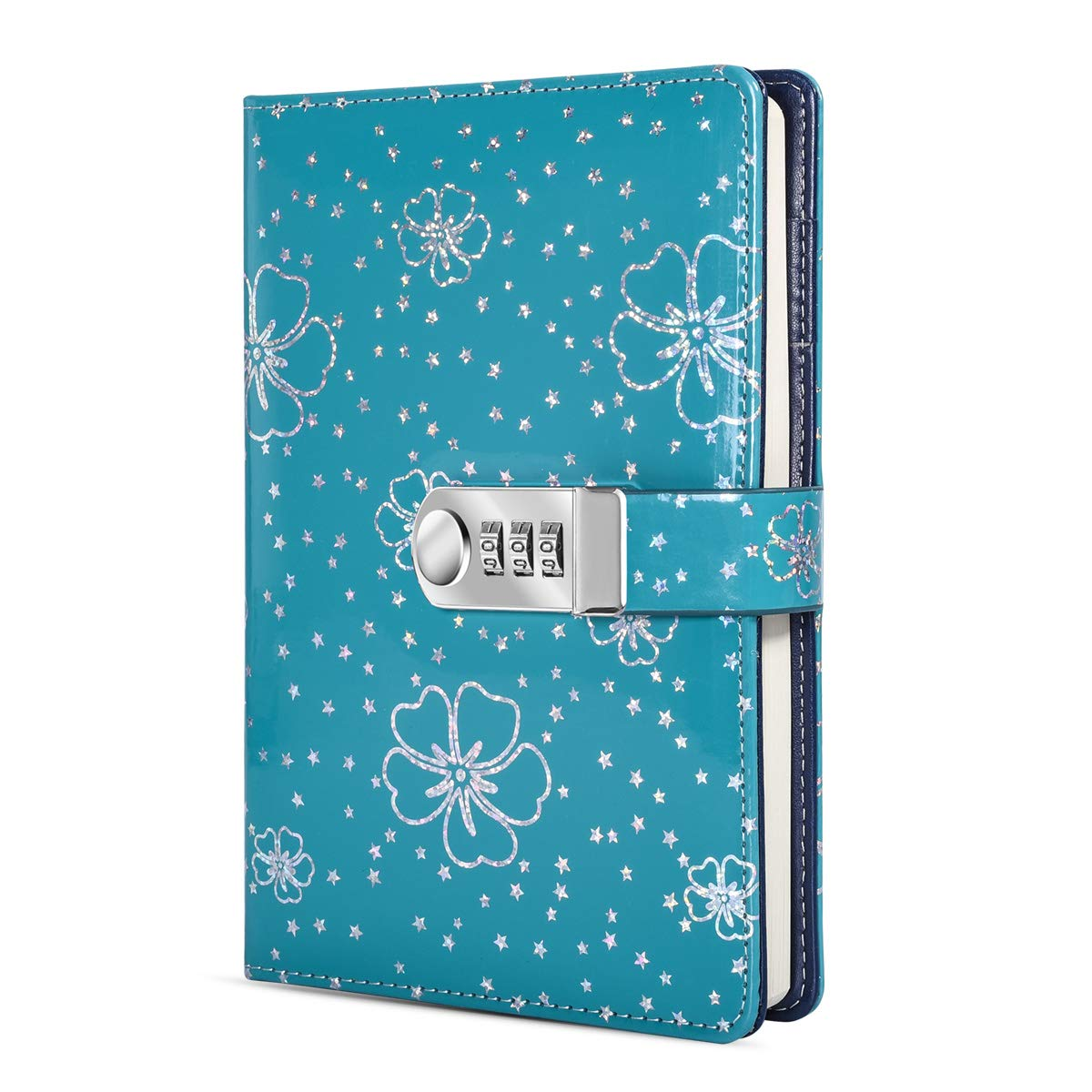 ARRLSDB PU Leather Journal with Lock, A5 Size Diary with Combination Lock (Journal with Combination Lock) Password Notebook Locking Student Diary Notepad (Green)