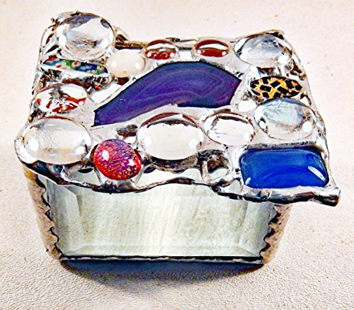 Purple agate with glass bevels, architectural glass and vintage and modern glass jewels. Jewelry Box with oversized lid to accommodate a variety of unusual jewels, OOAK.