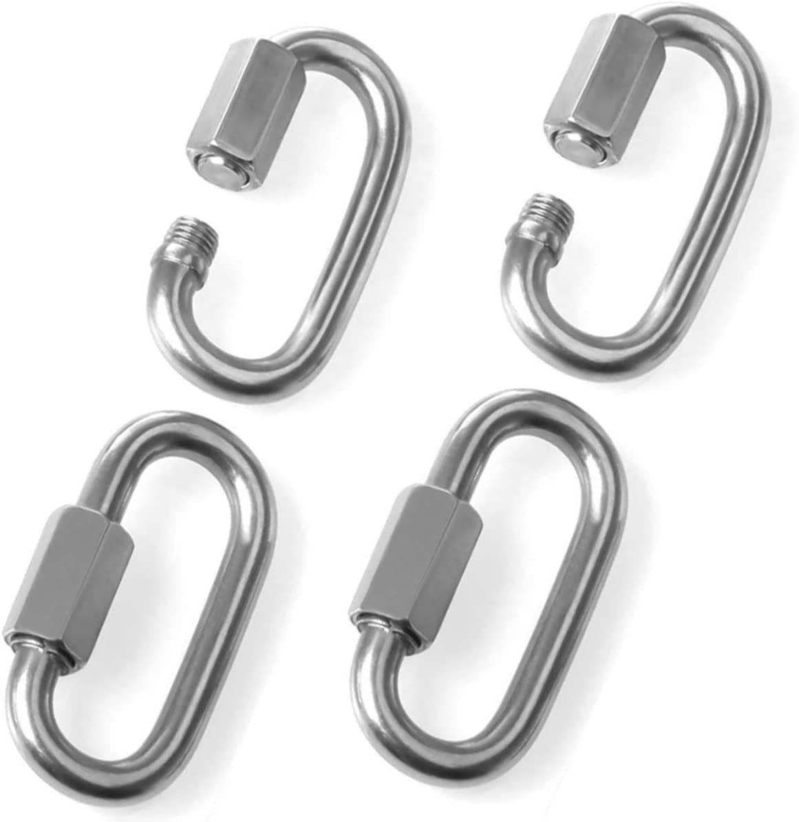 Set of 4 Stainless Steel 5//16 Inch Quick Link Oval 8mm D Shape Carabiner Clip Chain Connector Screw Lock Ring