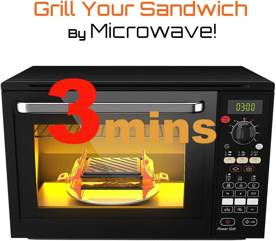 MACONEE Microwave Sandwich Maker | Panini Press Sandwich Maker | Microwave Grill Tray Crisper | Grill Fast and Dishwasher Safe