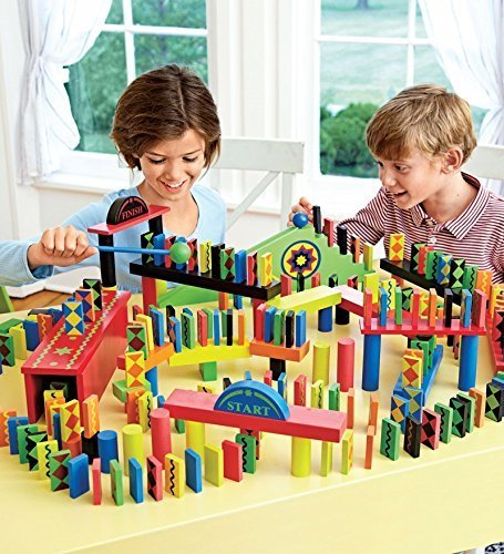 Domino Race Set, 255 Pieces in Bright Colors and Fun Patterns