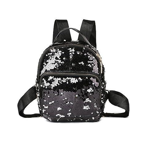 d49a45ca3998 Womens Sequin Backpack Purse Mini Leather Shoulder Bag Small Casual Daypack  Mini Rucksack Glitter Pack