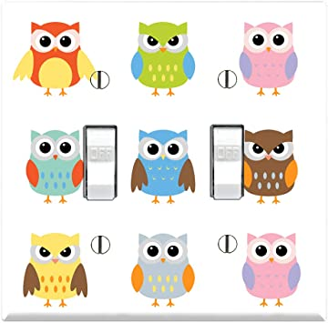 Graphics Wallplates Cute Owl Dual Toggle Wall Plate Cover Owl Wall Switchplate Amazon Com