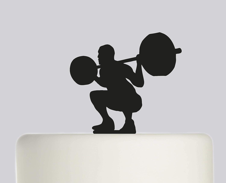 Personalised Acrylic Powerlifting Squat Mens Birthday Cake Topper