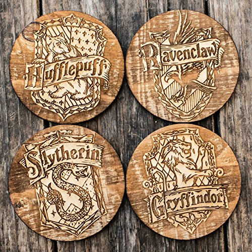 Hogwarts Wood Coaster Set of 4 4x4in Raw Wood