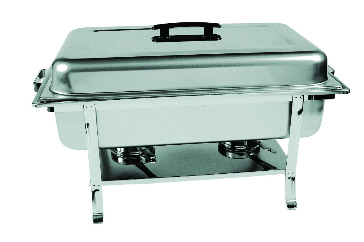 Update International (CC-5P) 8 Qt Stainless Steel Rectangular Continental Chafer w/Welded Legs