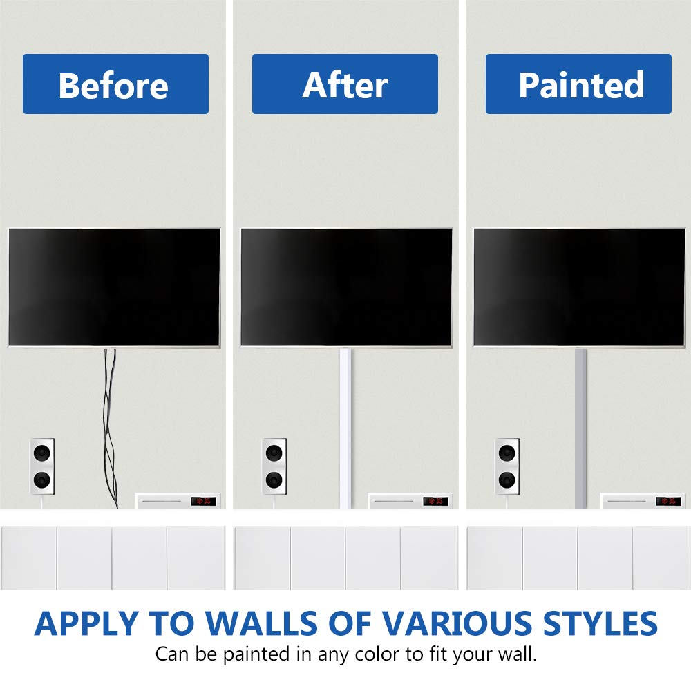 314'' Cable Management Channel, PVC Cord Covers Raceway Kit, Paintable Cord Concealer System Covers Cables, Cord Wires, Hiding Wall Mount TV Power Cords in Home Office, 20X L15.7in X W0.95in X H0.55in by Delamu (Image #4)
