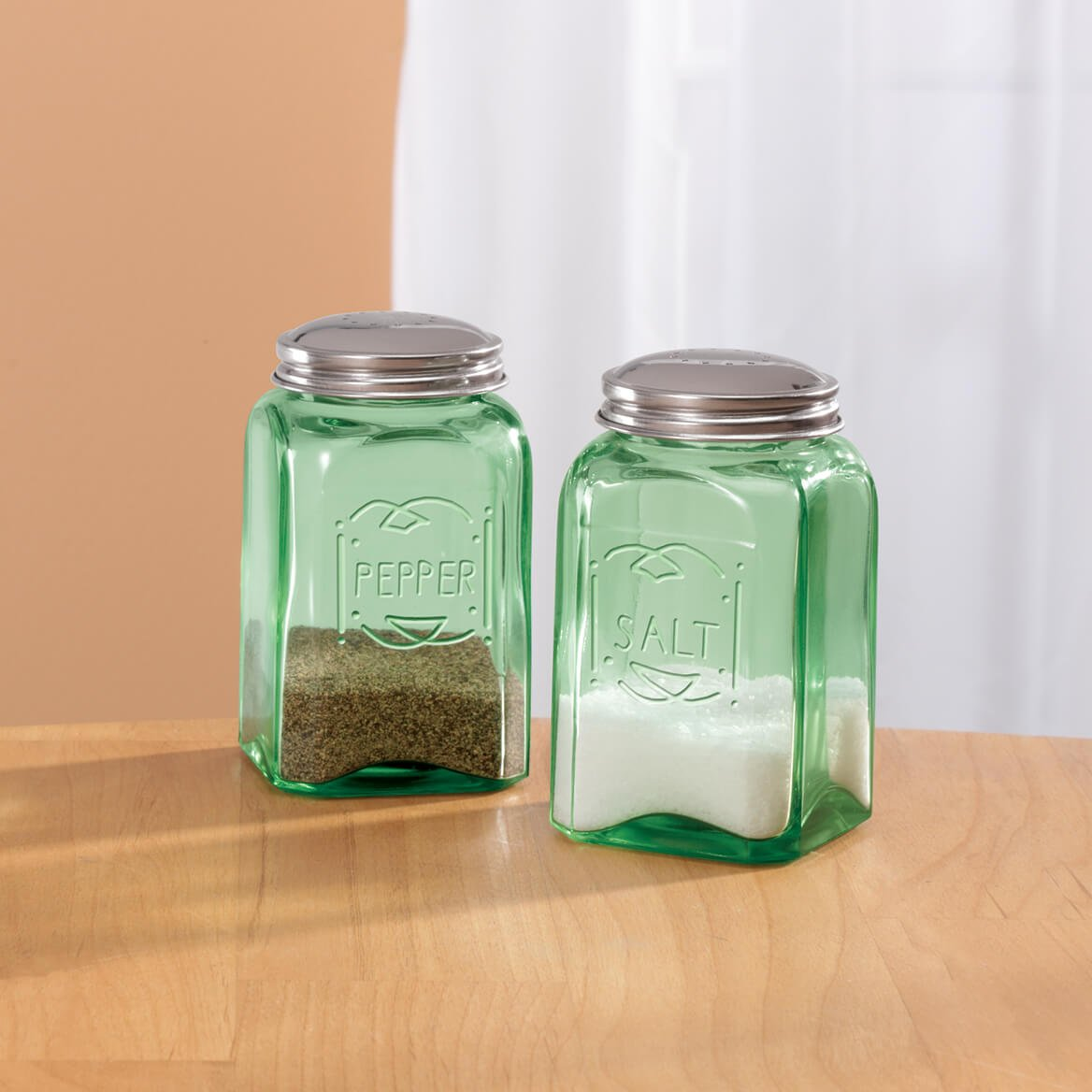 Depression Style Glass Salt and Pepper Shakers Classic Green