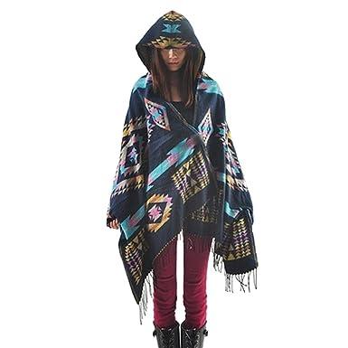 Mélange de Laine à Capuche Cape Blanket Manteau Cape Echarpe Epaisse Poncho  de Femmes Foulard Couverture a1f6ab73ccb