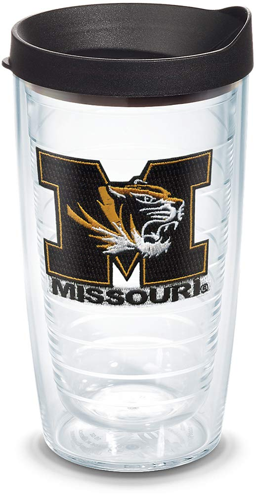 Tervis 1045348 Missouri Tigers Logo Tumbler with Emblem and Black Lid 16oz, Clear