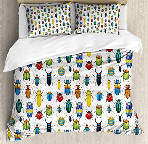 Watercolor Duvet Cover Set Full Duvet, Colorful Insects with Brush Strokes Effect Various Kinds of Bugs Illustration, Decorative 3 Piece Bedding Set with 2 Pillow Shams, Multicolor