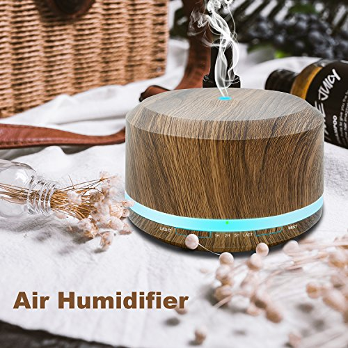 450ml Diffusers for Essential Oils, Wood Grain Aromatherapy Cool Mist Air Humidifier with 8 Color LED Lights for Home Bedroom Office by Doukedge(2 Pack) by Doukedge (Image #5)