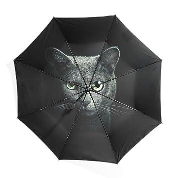 Mi Diario gato en oscuro moda paraguas sol lluvia ligero plegable paraguas para al aire libre