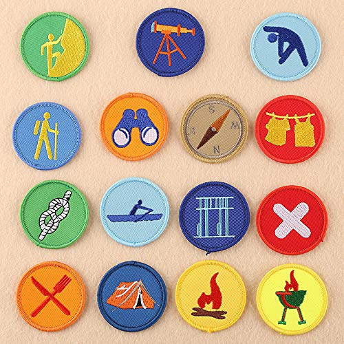 15 pcs of Wholesale Iron on Fabric Patch for Clothing Hat/Embroidered Sew on Applique Cute Patch Fabric Badge Garment DIY Apparel Accessories - Round boy Scout Patch (WFB-45) (One of Each) (Vintage Boy Patches Scout)