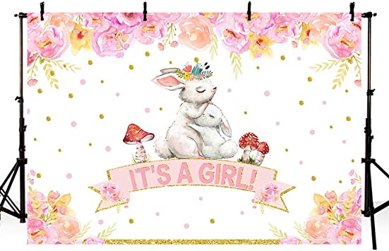 New 7x5ft Bunny It s A Girl Baby Shower Party Backdrop Pink Floral Rabbit Pink and Gold Spring Easter Photography Background Photo Banner Poster