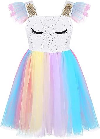 YiZYiF Disfraz Unicornio Vestido Princesa Bebés Niñas Vestido Tutú ...