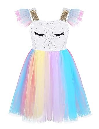 iixpin Disfraz de Unicornio para niña, Princesa, Fiesta, Vestido ...