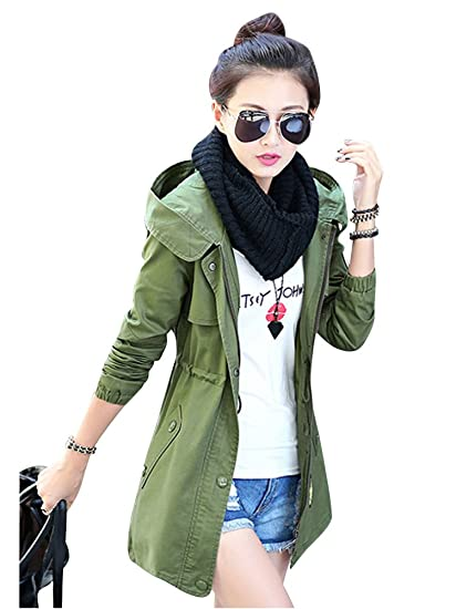 MissFox Womens Hoodie Drawstring 2 Pockets Trench Coat Jacket:  Amazon.co.uk: Clothing