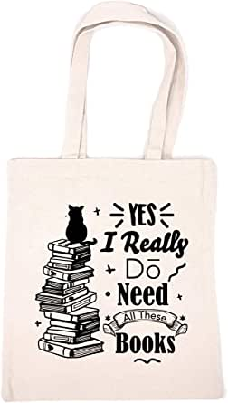 Chillake Inspirational Quote Natural Cotton Canvas 12 Oz Reusable Hand Made Tote Bag - Library Tote for Kids - Yes I Really Do Need All These Books School Bag Gifts for Book Lover/Librarian/Bookworm