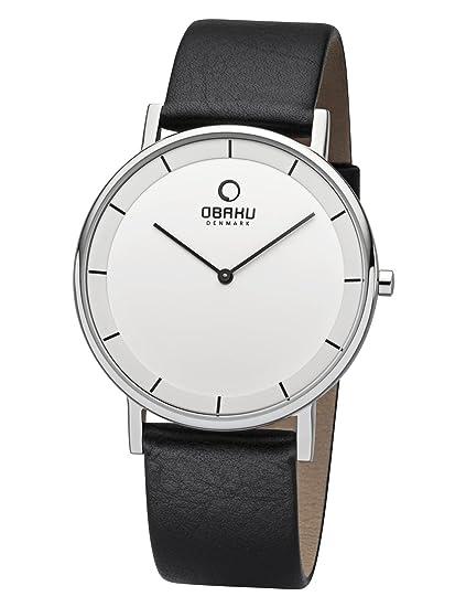 Obaku Denmark planas Reloj de hombre con cinta de piel 40 mm V143 X CWRB: Amazon.es: Relojes