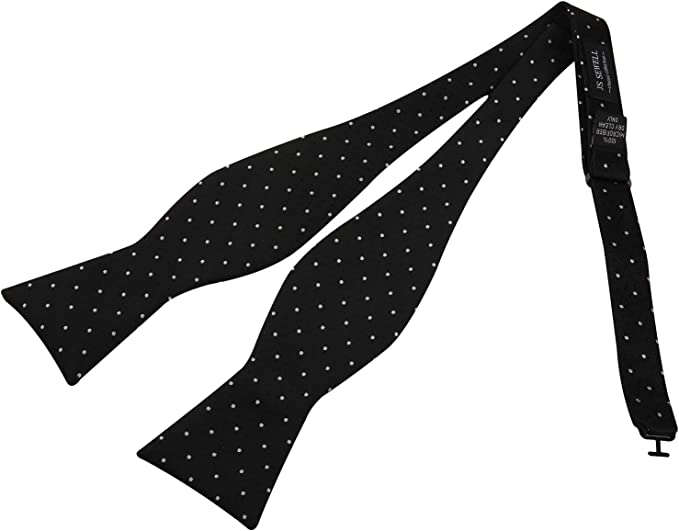 Mens Microfiber Pretied Bowtie for Formal Tuxedo with Adjustable Length White