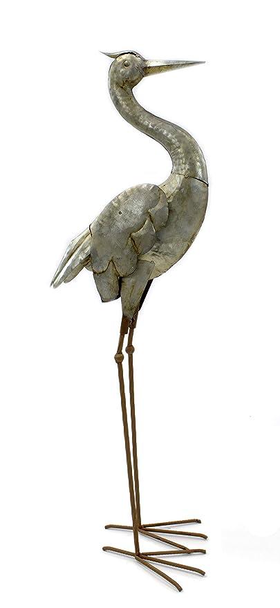 Daro Deko Metall Skulptur Reiher 85cm Edel Rost Amazonde Garten