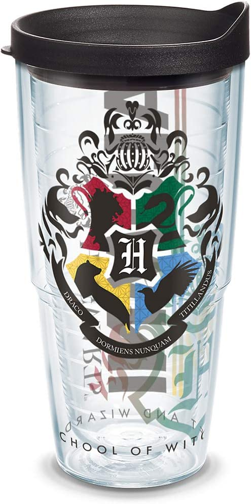 Tervis 1314606 Harry Potter - Hogwarts Alumni Insulated Tumbler with Wrap and Lid, 24 oz - Tritan, Clear