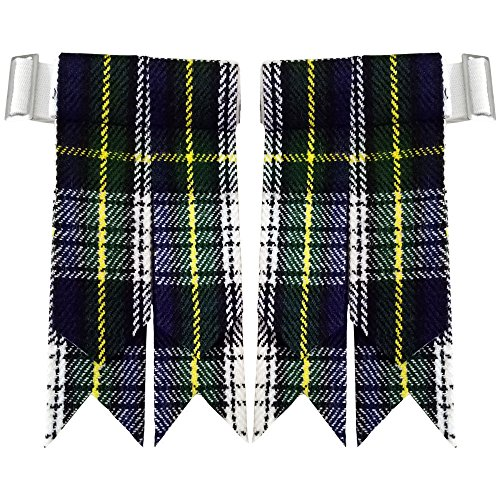 Scottish Kilt Hose Sock Flashes Various Tartan Garter Pointed Acrylic Wool Flashes (Dress Gordon)