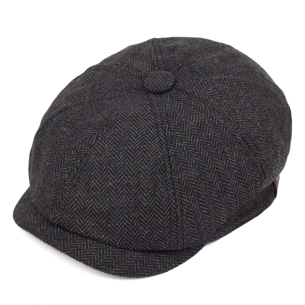 DYBERETSS Boinas Retro Gorras Hombres Octogonal Sombreros Negro Brit/ánico Pintores Sombreros Oto/ño Invierno Boinas Espina de Pescado Planas Gorras Gris L