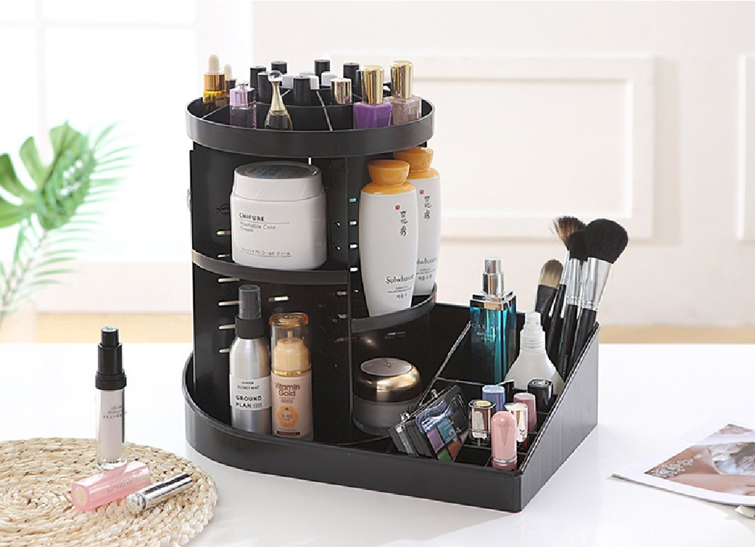 Cq acrylic 360 Rotating Makeup Organizer, DIY Adjustable Makeup Carousel  Spinning Holder Storage Rack, Large Capacity Make up Caddy Shelf Cosmetics
