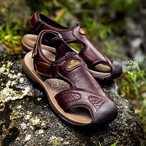 Minishion Mens Perforated Leather Summer Hiking Sandals Coffee FYzGq