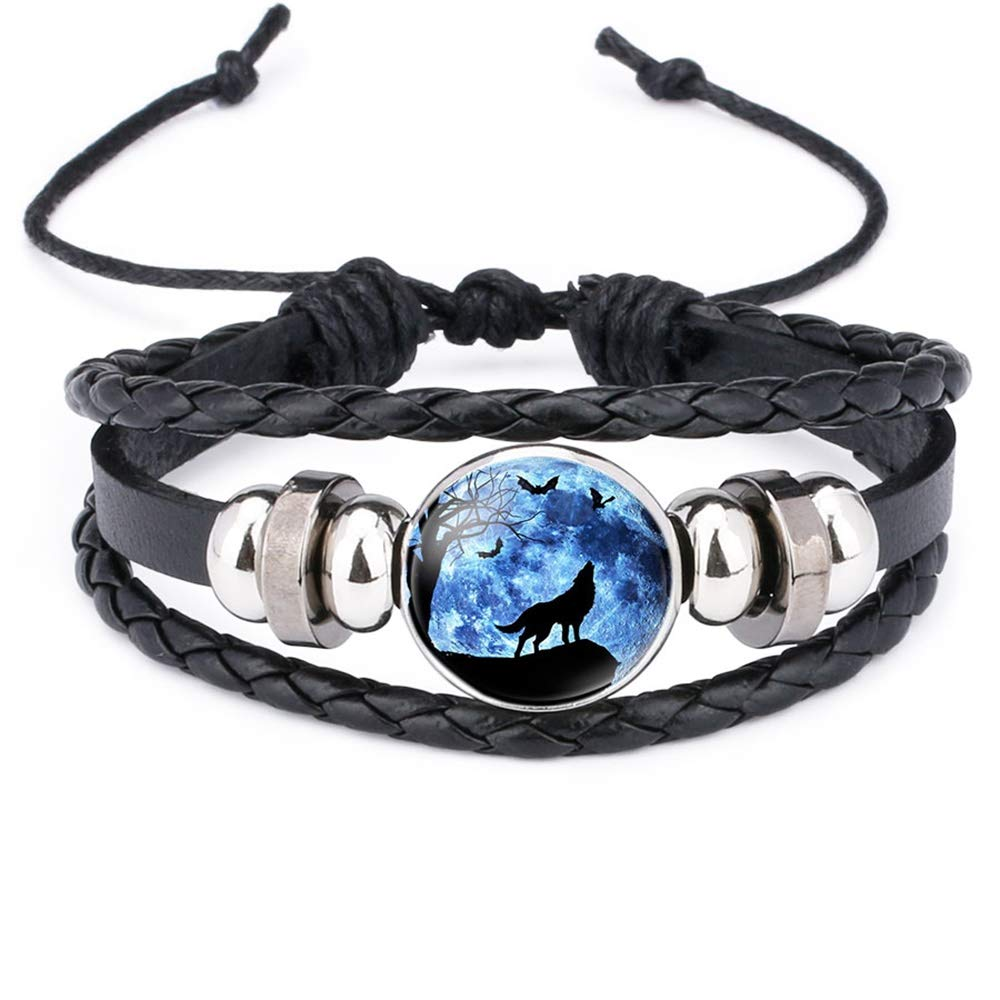 GOOEY Adjustable Wolf Braided Leather Bracelet - Cute Bangle Bracelets for Women The Pretty Gifts for Women